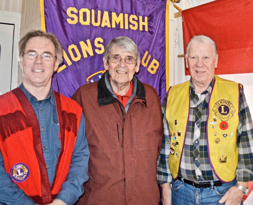 Lions Mike and Nelson with Squamish Lions Charter member Peter Alder